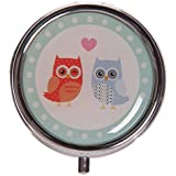 Cute Love Owls Design Round Metal Pill Box This Item Is Sent In Random Colours, Styles And by GiftRush