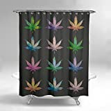 weed pot - Lume.ly - Marijuana Weed Cannabis Pot Leaf Plant Fabric Shower Curtain W/ 12 PREMIUM Stainless Steel Hooks/Rings For Bathroom, Unique Luxury Designer Vibrant Art (Black Multi Color) (72x72 inch)