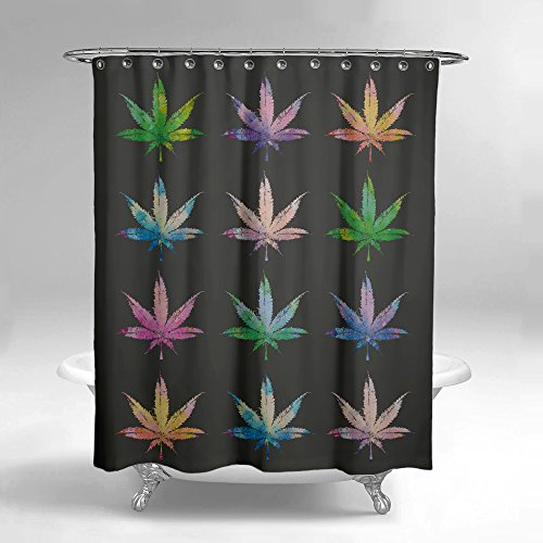 Lume.ly - Marijuana Weed Cannabis Pot Leaf Plant Fabric Shower Curtain W/ 12 PREMIUM Stainless Steel Hooks/Rings For Bathroom, Unique Luxury Designer Vibrant Art (Black Multi Color) (72x72 inch) (Fabric Shower Curtains Designer)