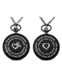 Charm.L Grace to My Granddaughter Grandson Black Pocket Watch Necklace Family Love Gift from Grandpa Grandma