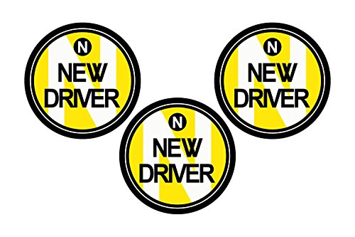 Zone Tech New Driver Round Magnetic Vehicle Car Sign 3 Pack (Signs Round Magnetic)