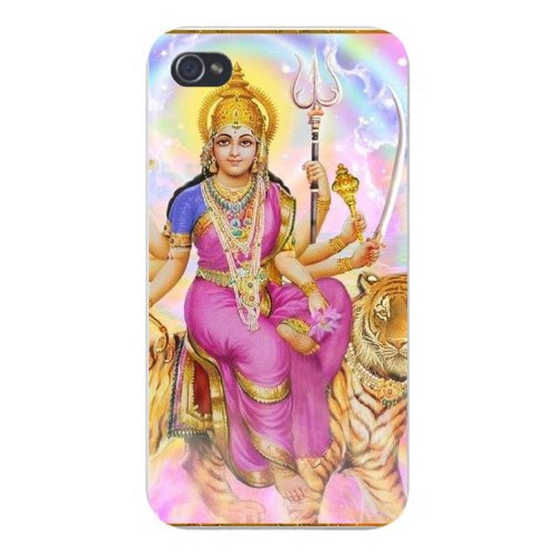 Apple Iphone Custom Case 5 5s AND SE Snap on - World Religion Hindu Goddess Durga w/ Tiger & Trident
