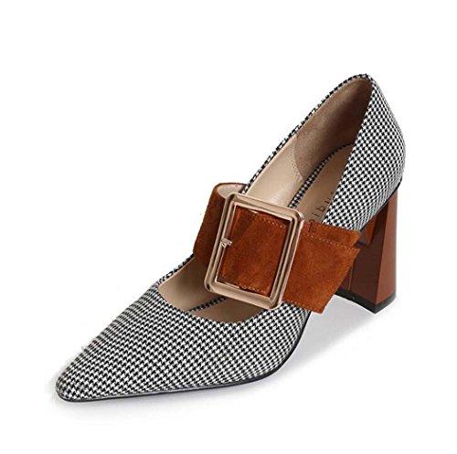 Marrón Talla Marrón de Estrecha Alto Zapatos Punta 34 Zapatos Mujeres para 36 Tamaño 39 Desnudos Tacón Color de Negro P18xqwq7Fa
