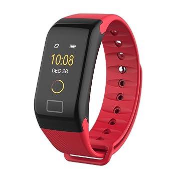 JIANGFU Smart Watch, F1 Color Fitness Tensiómetro Pulsómetro De Oxígeno Smart Watch Pulsera, color rojo: Amazon.es: Deportes y aire libre