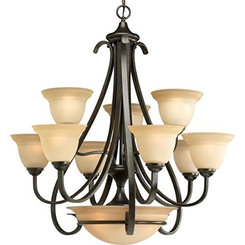 (Progress Lighting P4418-77 9-Light Two-Tier Torino Chandelier, Forged Bronze)
