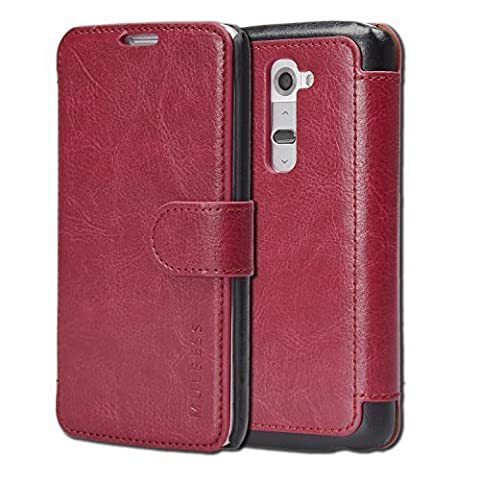 LG G2 Case Wallet - Mulbess [Layered Dandy][Wine Red] - [Slim][Wallet Case] - Premium Leather Flip Case With Credit Card Slot for LG (Lg G2 Phone Case Magnetic)