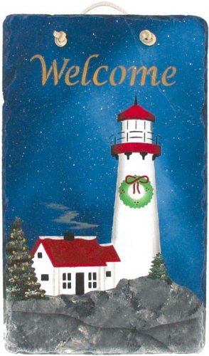"KimsCrafts Welcome Collection Handmade in Maine Stenciled 7""x12"" Slate Christmas Lighthouse Sign"