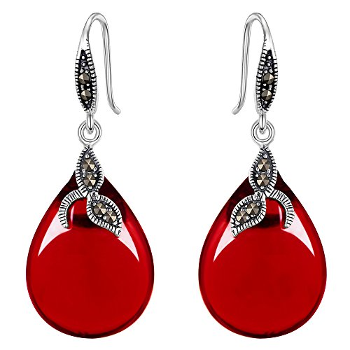 EVER FAITH 925 Sterling Silver Natural Red Chalcedony Crystal Retro Black Leaf Teardrop Hook ()