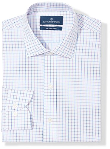 BUTTONED DOWN Men's Slim Fit Spread-Collar Pattern Non-Iron Dress Shirt, Grey/Purple/Blue Tattersall Check, 17.5