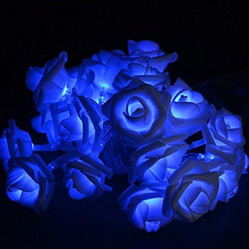 JLTPH 2.5m/8.2ft Rose Flower String Light 20 LED Battery Power for Wedding Garden Christmas Decoration, Blue
