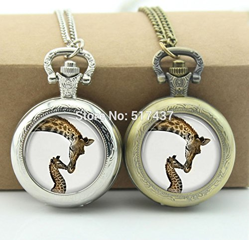 Pretty Lee Giraffe Pocket Watch Animal Jewelry Living Locket Necklaces Style Retro Vintage Pocket Watch Necklace]()