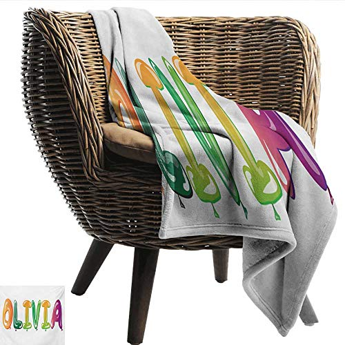 - smllmoonDecor Decorative Throw Blanket Olivia Well-Known Traditional Girl Name with Medieval Roots Modern Funny Party Letters Super Soft W80 xL60 Sofa,Picnic,Camping,Beach,Everyday use