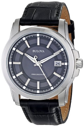 Bulova Men's 96B158 Precisionist Leather Strap - Bulova Mens Leather Wrist Watch