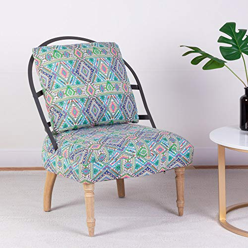 - Lansen Furniture Pattern Prints Velvet Fabric Contemporary Accent armless Chair Club with Solid Wood Legs (Diamond Pattern)