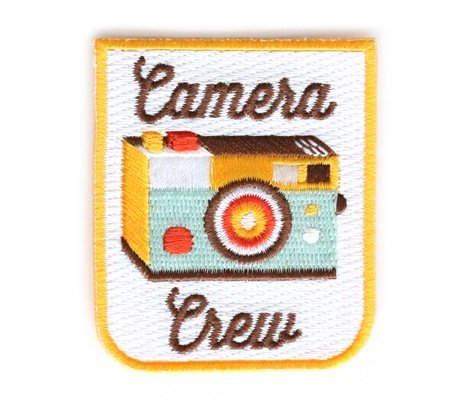 Embroidered Sew or Iron-on Backing Patch Yoga Space Explorer Time Traveler Camp Galaxy Planet Bear Bike Camera (Camera Crew)