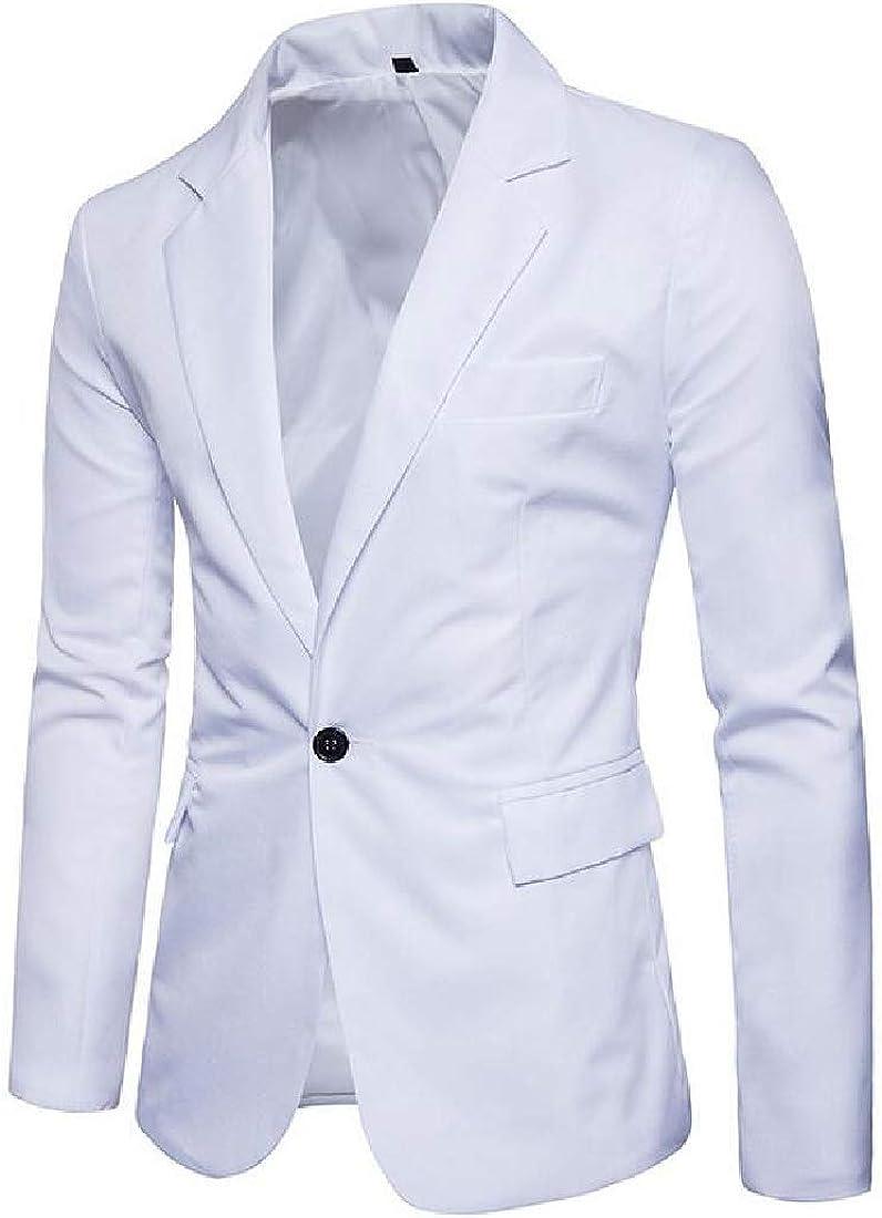 Jotebriyo Mens Formal Slim One-Button Pure Color Long Sleeve Blazer Jacket Coat