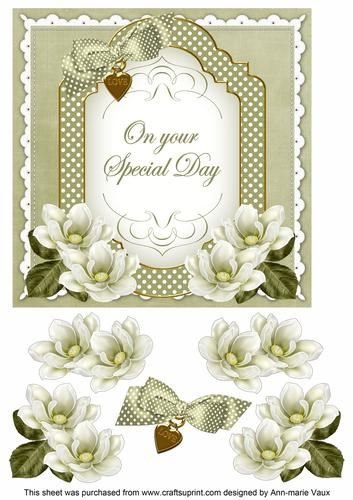 Olive magnolia Special Day Fancy 7 in decoupage topper by ann-marie Vaux Craftsuprint