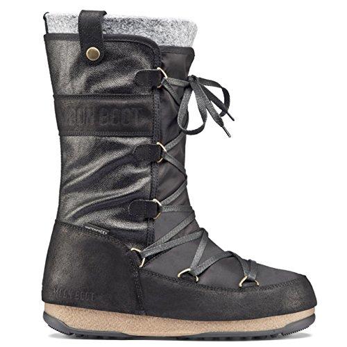 Moon Boot Womens Original Tecnica We Monaco Mix Snow Winter Waterproof Knee High Boots - Black - 7 (Winter Moon Boots Snow)