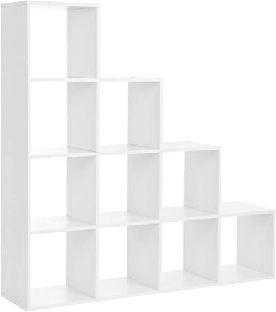 VASAGLE EstanterÍa en forma de escalera, EstanterÍa de almacenamiento con 10 cubos, Estante de exhibiciÓn de madera, EstanterÍa de pie, Ideal para estudio, sala de estar y dormitorio, Blanco,LBC10WTV1: Amazon.es: Hogar