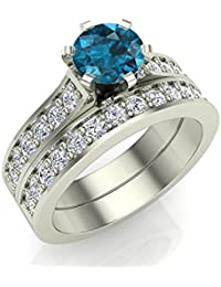 1.10 ct tw Fancy Blue Diamond Wedding Ring Set including Wedding Band 14K Gold