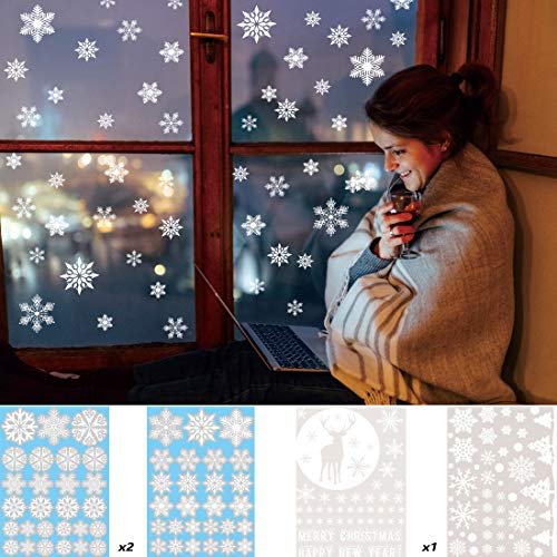 Christmas White Snowflake Window Clings Reusable Decals Decorations, Glueless PVC Wall Stickers for Window Glasses, Xmas Winter Decorations, Home, Office, New Year, Christmas Party Supplies, 194 pcs