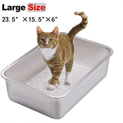 Yangbaga Stainless Steel Litter Box for Cat and Rabbit, Odor Control Litter Pan, Non Stick Smooth Surface, Easy to Clean, Never Bend, Rust Proof, Large Size with High Sides