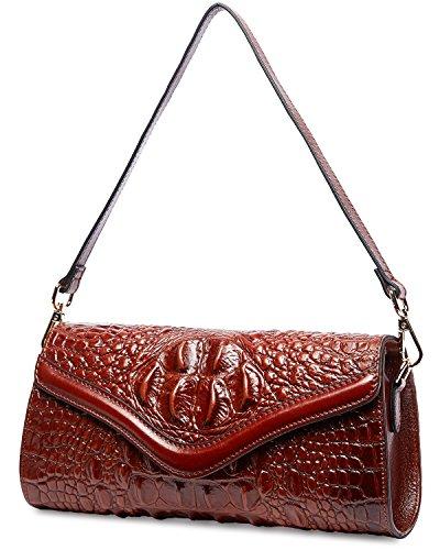 Womens PIFUREN Brown Clutch Designer Party Evening Crocodile Purse Handbag xpqIpf