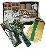 Greenhouse Seed Starter Kit Set with Rubber Covered Twist Ties, Garden Pruners and Gloves to Plant Seedlings Grow Indoor Garden Flower
