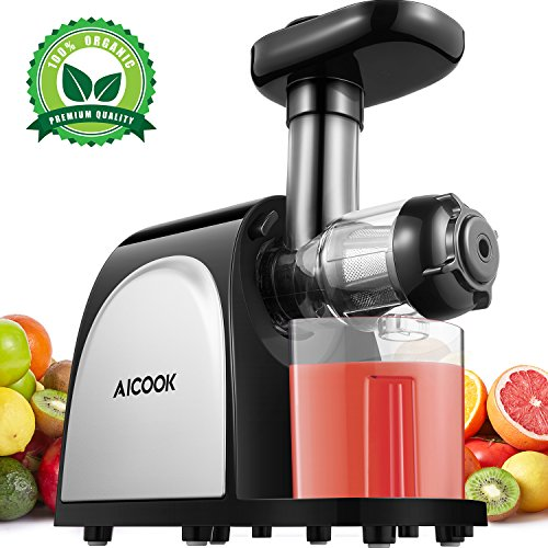 Aicook Juicer Masticating Juicer, Juice Extractor Cold Press Juicer Machine, Higher Juicer Yield and Drier Pulp with Quiet Motor and Reverse Function for Fruits and Vegetables