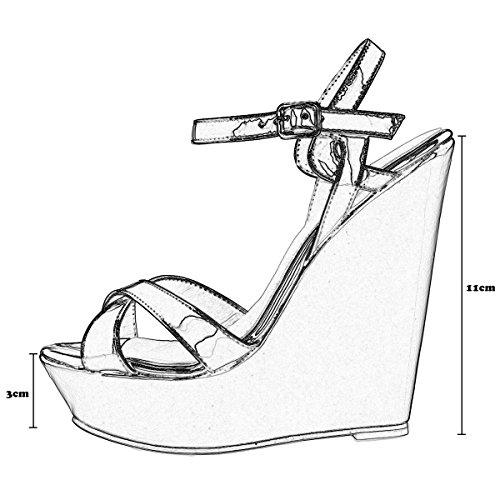 Mode Femme Bohême Boucles 41 Chaussure Grande Soirée wealsex Cuir 40 Ouvert 42 Elégant Plateforme Bout Violet Eté Mariage Vernis Cheville Compensees Taille Sandales Bride PxntqT