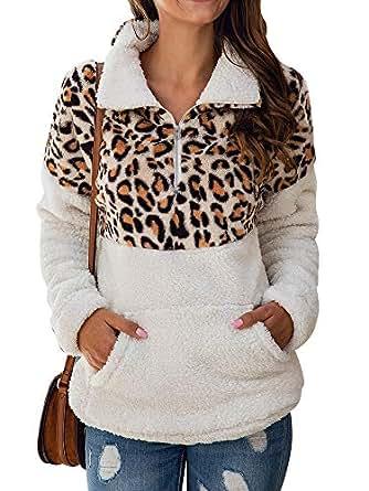 Uni Clau Women's Leopard Long Sleeve 1/4 Zipper Sherpa Fuzzy Fleece Pullover Outwear Coat Sweatshirt with Pocket White