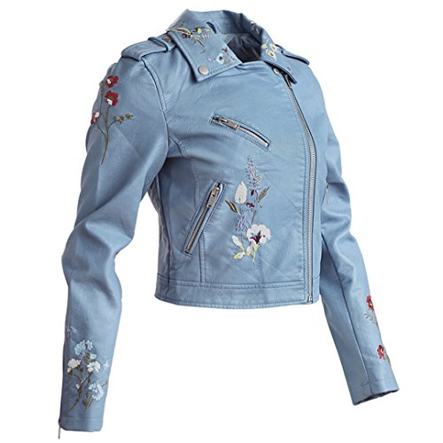 WAZDpuyer Women's Floral Embroidered Faux Leather Moto Jacket Coat Light Blue XL - Embroidered Suede Leather Coat