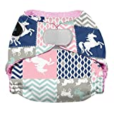 Imagine Baby Products Hook & Loop AIO Stay Dry, Unicorn Dream, Newborn