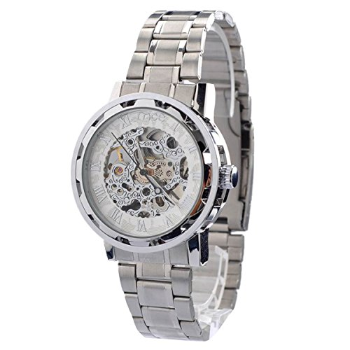 Panegy Herren Armbanduhr Analog Automatik Edelstahl Business Casual Sport Elegant Uhr Silbrig