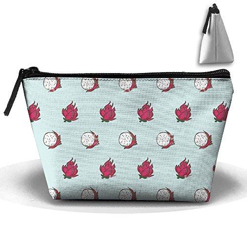 Jingclor Portable Trapezoidal Storage Pouch Pitaya Seamless Clip Arts Cosmetic Bags Travel Toiletry Zipper Pencil ()