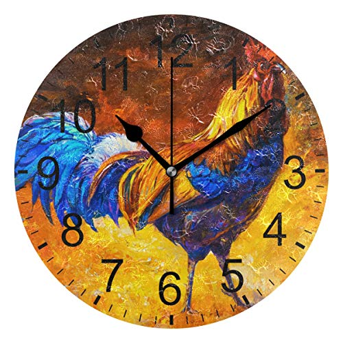 Oil Rooster (LUCASE LEMON ALEX Colorful Oil Painting Cock Rooster Round Acrylic Wall Clock Non Ticking Silent Clocks for Home Decor Living Room Kitchen Bedroom Office School)