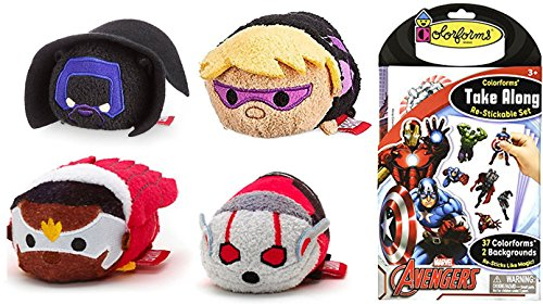 Colorforms Take Along Go Stickable Set - The Avengers & Disney Marvel Avengers: Tsum Tsum Character Plush Pack Team Up Falcon / War machine / hawkeye / Ant-Man / Black Panther