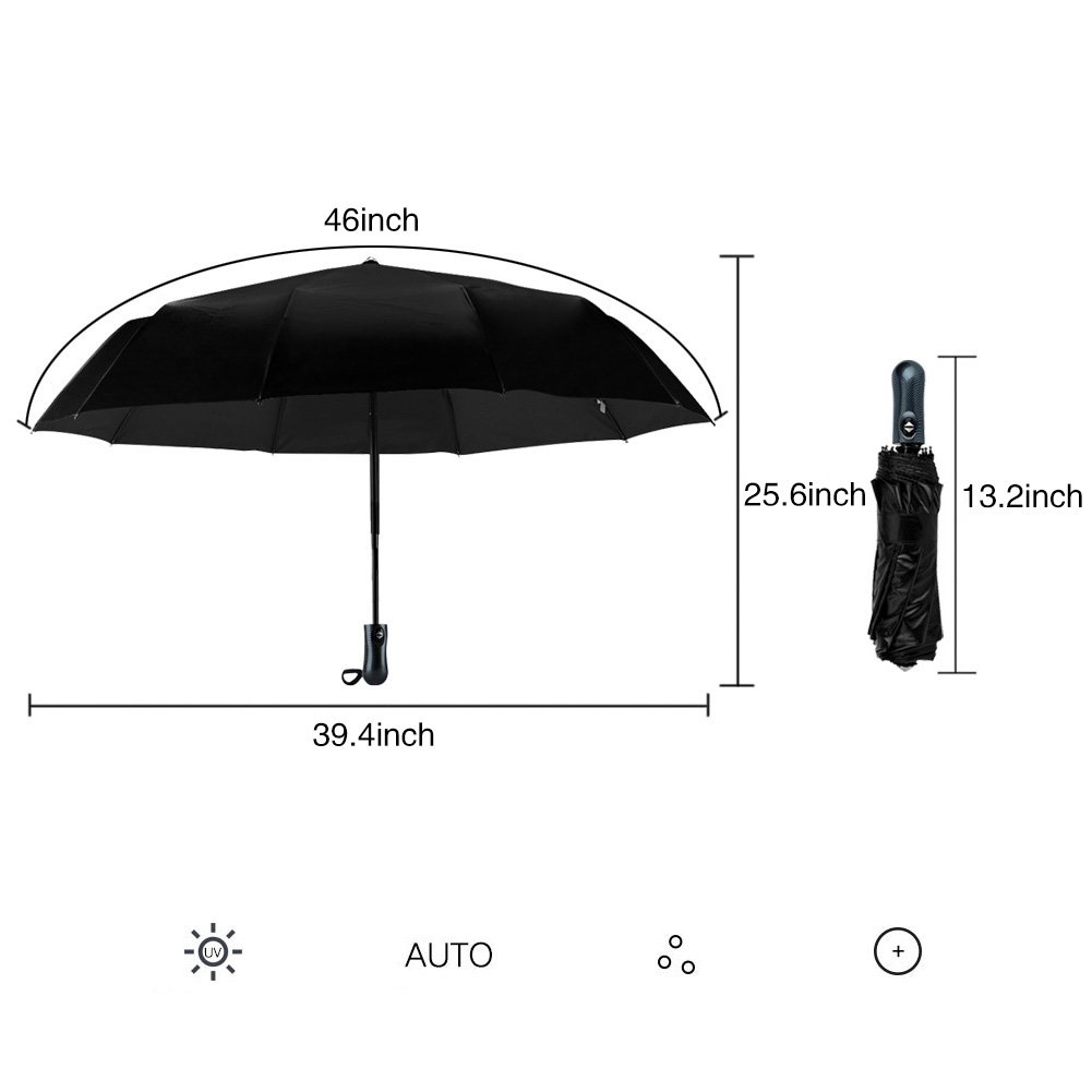 Umbrella, Cozyswan Travel Umbrella 210T Automatic Folding Umbrella with Sunscreen Function,Black (10 Ribs) by COZYSWAN (Image #3)