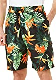 Ks Island Men's Big & Tall Printed Cargo Swim Shorts, Black Tropical Big-6Xl