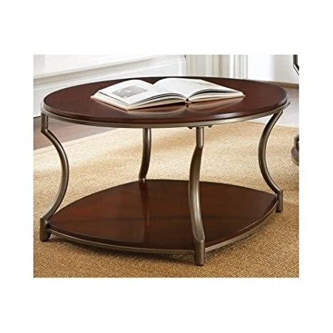 Amazon.com: Madera de Cerezo mesa de centro redonda salón ...