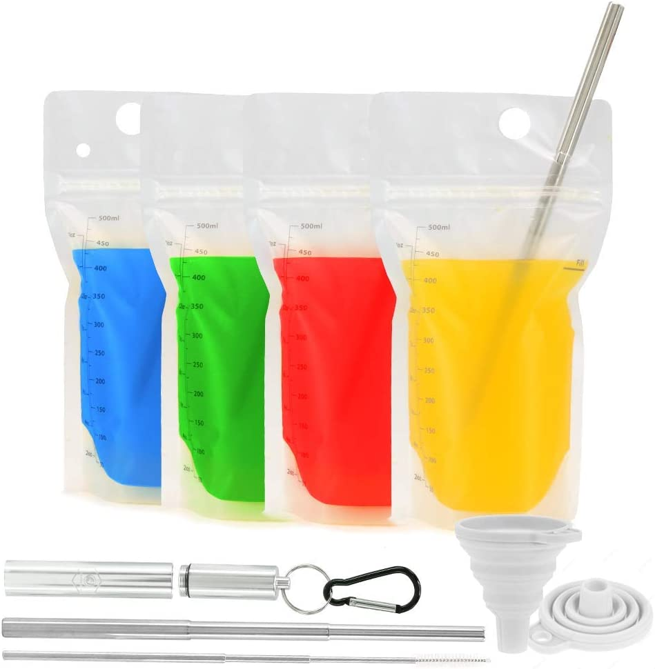 Double-Zipper Premium Reusable Drink Pouches & Stainless Steel Straw Eco Drink Set | Leak-Proof Recyclable Drink Pouches & Collapsible Metal Straw Set w/ Cleaner, Case, & Clip | Food-Safe, BPA-Free