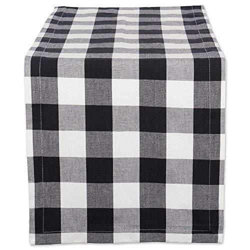 Homcomoda Black White Checkered Buffalo Table Runner for Dinner Party Events Décor 12×108 Inch