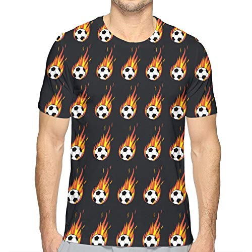 Men's Flaming Soccer Ball T-Shirts Classic Short Sleeve Shirts Top Tees Tall Size Summer Sportswear for Yoga Game Golf, Crew Neck, Quick Dry, - Soccer Flaming Ball T-shirt
