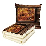 Quilt Dual-Use Pillow Fall Decorations Fall Foliage View from Square Shaped Wooden Window Inside Cottage Photo Multifunctional Air-Conditioning Quilt Orange Brown