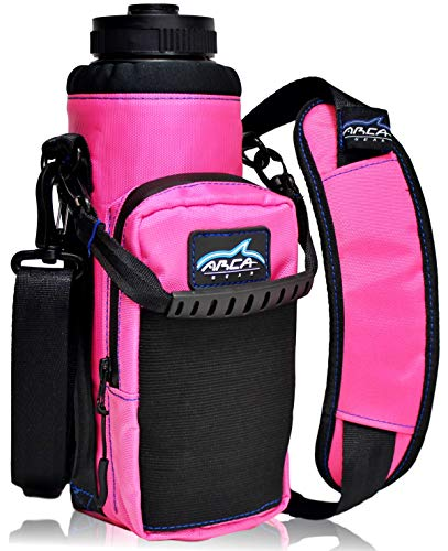 Arca Gear 40 oz Hydro Carrier - Insulated Water Bottle Sling w/Carry Handle, Shoulder Strap, Wallet and Two Pouches - The Perfect Flask Accessory - Sunset Pink