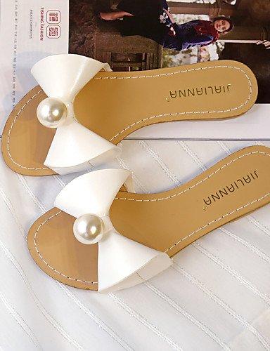 LFNLYX Zapatos de mujer-Tacón Plano-Punta Redonda / Punta Abierta-Sandalias-Vestido-Semicuero-Negro / Rosa / Blanco White