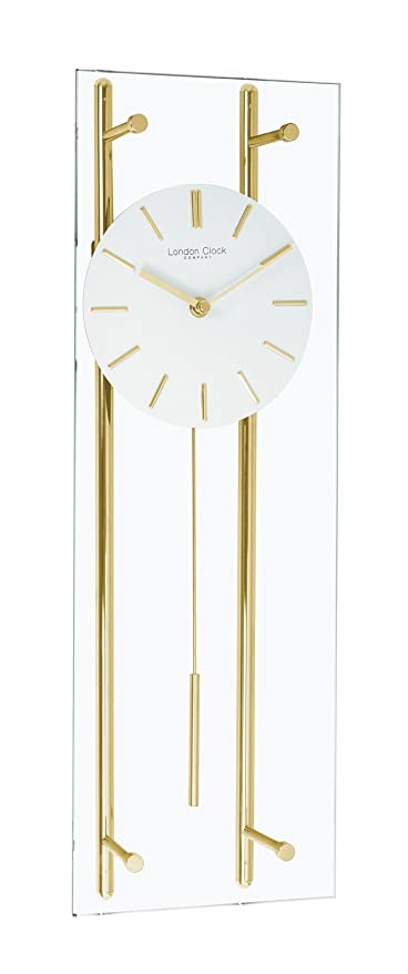 Gold and Glass Wall Clock with Pendulum Amazoncouk Kitchen Home