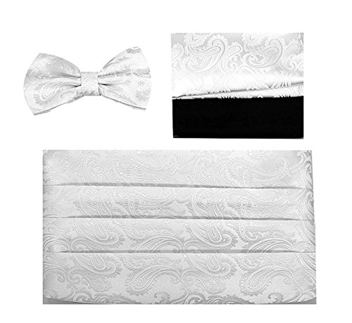 Cummerbund Bow-Tie Set (4pc Paisley White)-CB20-A
