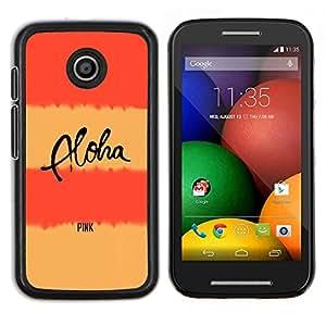 Líneas de texto Peach Pink Aloha Amarillo- Metal de aluminio y de plástico duro Caja del teléfono - Negro - Motorola Moto E / XT1021 / XT1022