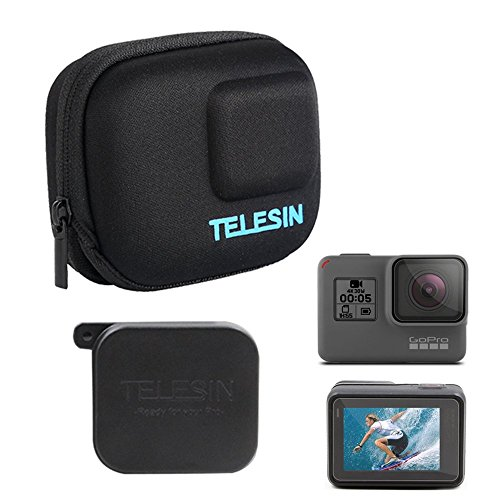 TELESIN Small Carry Case Protective Travel Bag, with Lens Cover Cap and Lens Film for GoPro Hero 7 Hero (2018) Hero 6 Hero 5 Black and DJI Osmo Action Camera, Fits with Selfie Stick Pole Monopod